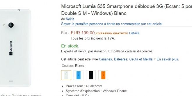 Ya puedes comprar el Lumia 535 en Amazon Francia por unos imbatibles 109€